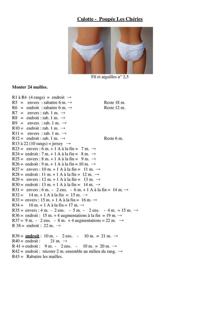 Culotte pour poupée chérie de corolle ( tuto gratuit)