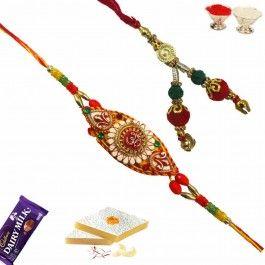 Buy #Bhaiya #Bhabhi #Rakhi Pair with Gold Beads and Velvet Work from http://www.rakhistoreonline.com/rakhi/bhaiya-bhabhi-rakhi/bhaiya-bhabhi-rakhi-pair-with-gold-beads-and-velvet-work.html