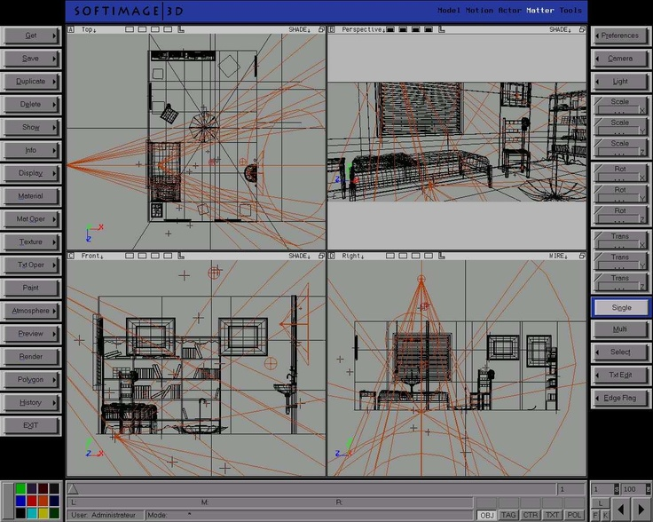 Original 1988 Softimage SGI/Irix UI. First easy to use 3D animation system. Still holds up.