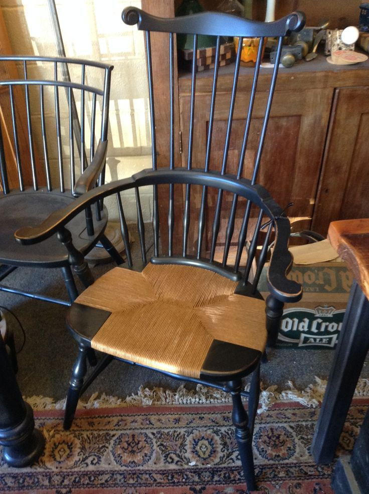 This finely refinished chair is for sale at Mcnary's Antiques near Downtown Overland Park. Seat by Overland Park Cane & Seat.