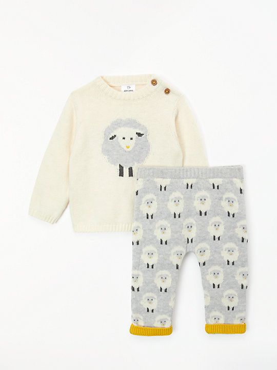 bfb78cec0836 John Lewis   Partners Baby Cotton Cashmere Sheep Top and Trouser Set ...