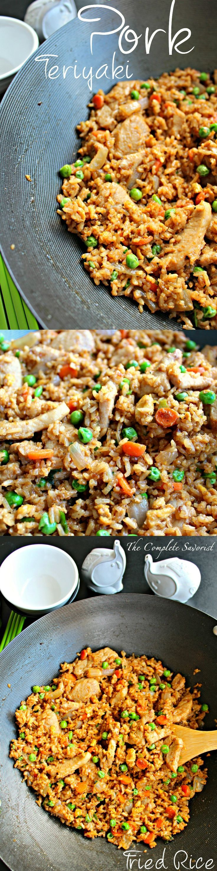 Pork Teriyaki Fried Rice ~ Leftover rice, extra teriyaki glaze, pork on sale, some eggs and veggies and you have a quick dinner ready in less than 30 minutes ~ The Complete Savorist