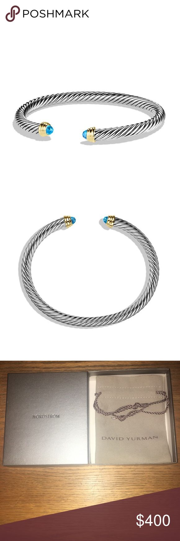 David Yurman Cable Classics Bracelet Cuff 5mm Cable Classics Bracelet with Aquamarine and 14K Gold, 4MM.  DY 925 585.  Preloved sparingly.  Well taken care of.  Purchased at Nordtroms department store.  Will come in original slip and silver box as pictured. David Yurman Jewelry Bracelets