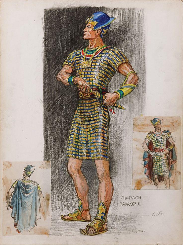 Edith Head - Esquisse et Croquis - Costumière - Les Dix Commandements - 1956 - Yul Brynner - Ramsès II