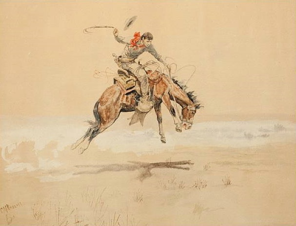 Charles Marion Russell | Cowboy on a Bucking Horse 1894