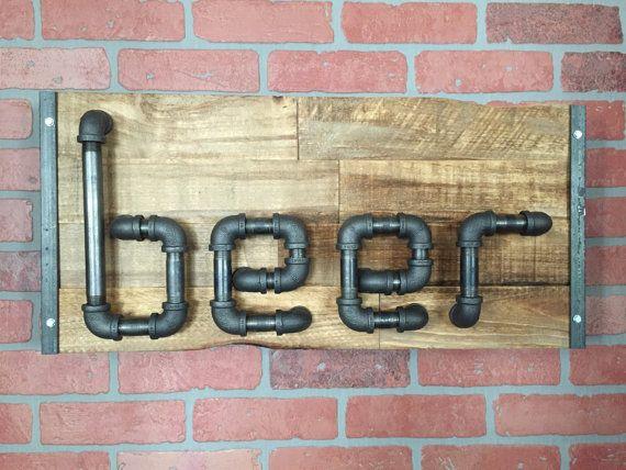 Rustic Reclaimed Wood Industrial Steel Pipe Beer Sign