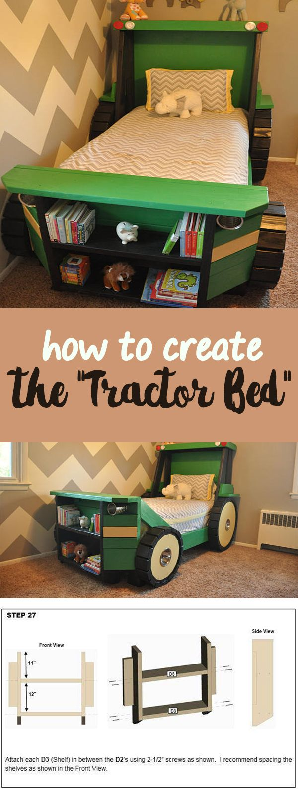 This Tractor Bed Plan is perfect for a toddler farm themed (or construction themed) room! Help your little boy or girl transition from the crib into a bed he or she will actually enjoy sleeping in. Imagine that. They'll love it! | bedroom ideas | bedroom decor | kids bedroom #Ad