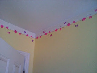 Painted wall border...flowers and butterflies