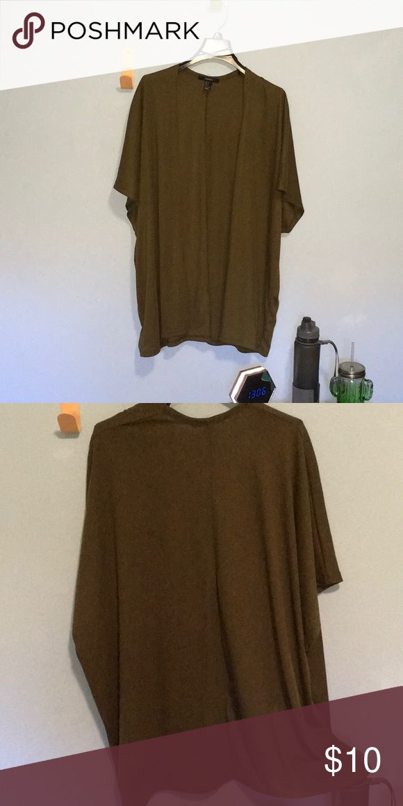 F21 Green Short-Sleeve Open Front Cardigan Between a kelly & hunter green Ribbed material Lightweight & long Super cute but I only wore it once!  Make an offer! Forever 21 Sweaters Cardigans