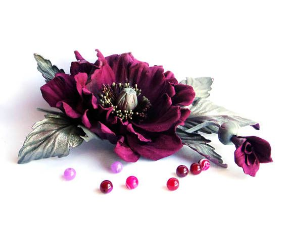 Bordo flower brooch Leather flowers Flowers corsage Leather