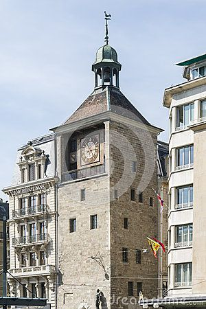 Old Building with big clock in the center of  Geneva , Switzerland.