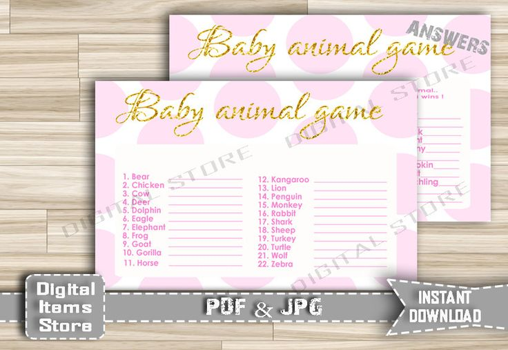 Printable Baby Animal Name - Baby Animal Name in Pink Dots and Gold Glitter Text - Baby Shower Animal Game for Girl - Instant Download - pg1 by DigitalitemsShop on Etsy