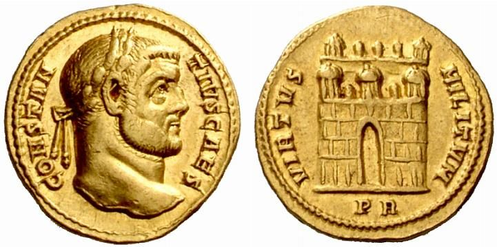 Constantius I (293-305). Aureus, 5.47 g, Rome, 298-299. CONSTAN – TIVS CAES. Laureate head right. / VIRTVS – MILITVM. Camp-gate, its door open, with 3 forward turrets; behind, 3 small turrets between 2 towers. In exergue, PR. RIC VI 008a. Depeyrot 12b/3. Calicó 4882 (this coin). Cohen 317; Biaggi 1844 (this coin). Numismatica Ars Classica Auction 49 from the B.d.B Collection: Lot No. 438 (2) Ex Hess sale 9 May 1951, About EF, 274. 21/10/2008, $5.723.