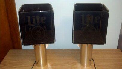 "Vintage '84 Miller Lite Bar Lights in BeckyWes' Garage Sale in Luck , WI for $40.00. A set of 2 Vintage 1984 Miller Brewing Co Electric Lights. Each side of the lights says ""A fine Pilsner Beer"". From Miller Brewing Company, item #57-13449."