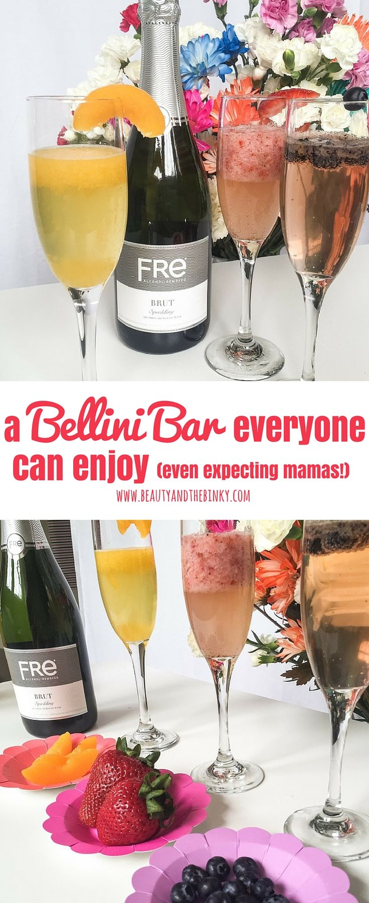 Msg 4 21+ | A Bellini Bar Everyone Can Enjoy (Even Expecting Mamas!) | Beauty and the Binky blog | #ad, #sponsored, #MomsSipSmart, mimosas, cocktails, mocktails, alcohol-free wine, alcohol-removed wine, wine for pregnancy, wine for moms, events, special occasion, baby shower, baby shower bellinis, bellini bar, champagne, champagne for moms, champagne for pregnancy, fruit bar