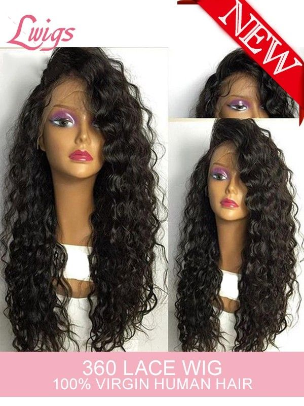 2017 New Arrival Deep Curly 360 Lace Wigs Vingin Brazilian Hair 360 Lace Front Wig For Black Women LWigs48