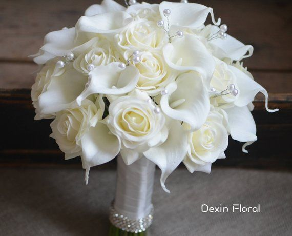Ivory Bridal Bouquets Real Touch Roses Calla Lilies Wedding Bouquets Pearls Bouquets  – Wedding Ideas