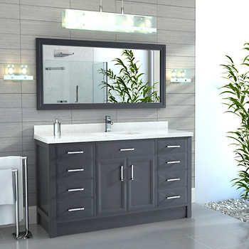 "Calais 60"" Pepper Gray Single Sink Vanity by Studio Bathe"