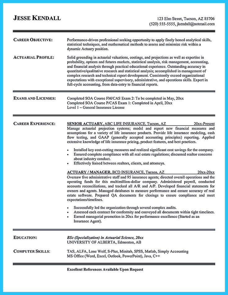nice Excellent Ways to Make Great Bartender Resume Template, Check - actuarial resume example