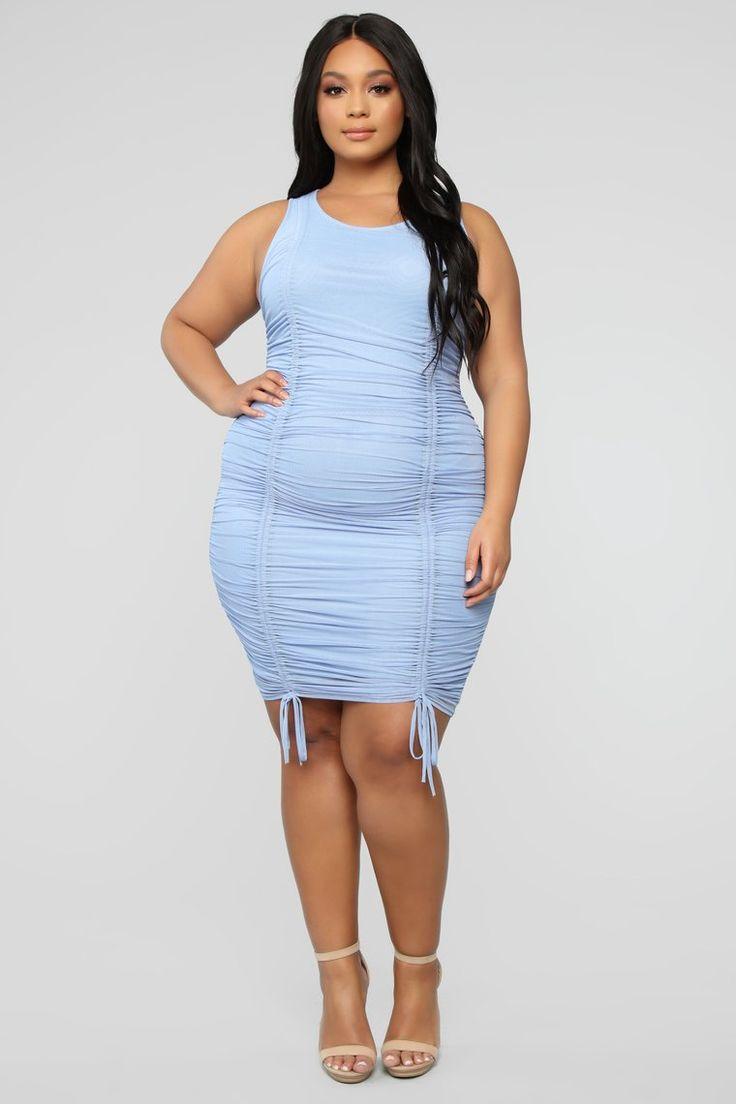 Sweet Attitude Ruched Mesh Mini Dress Blue Dresses