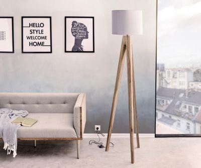 Stehleuchte Wyatt Sheesham Natur drei Beine Schirm Stoff Grau Designer Stehlampe Jetzt bestellen unter: https://moebel.ladendirekt.de/lampen/stehlampen/standleuchten/?uid=ff087b4f-975b-5304-8070-250ad1daa544&utm_source=pinterest&utm_medium=pin&utm_campaign=boards #stehlampen #heim #leuchten #lampen
