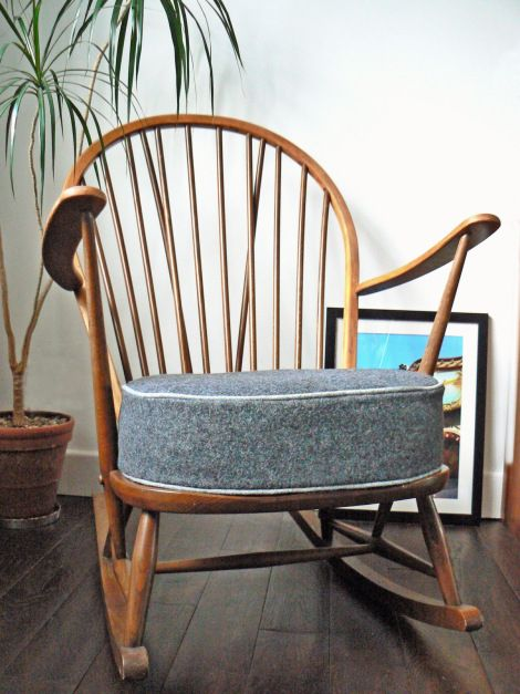 Amazing 1960s Ercol Rocking Chair. Vintage Retro Chair With Grey Wool Cushion With  Lighter Wool Piping