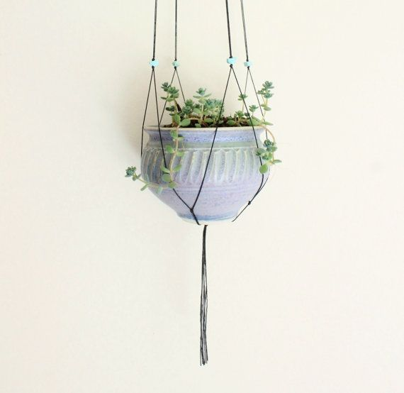 Hanging pot plant. Raw crystal quartz and turquoise.
