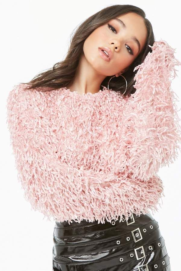 Forever 21 pink sweater Motel Cropped Feathered Sweater Pink
