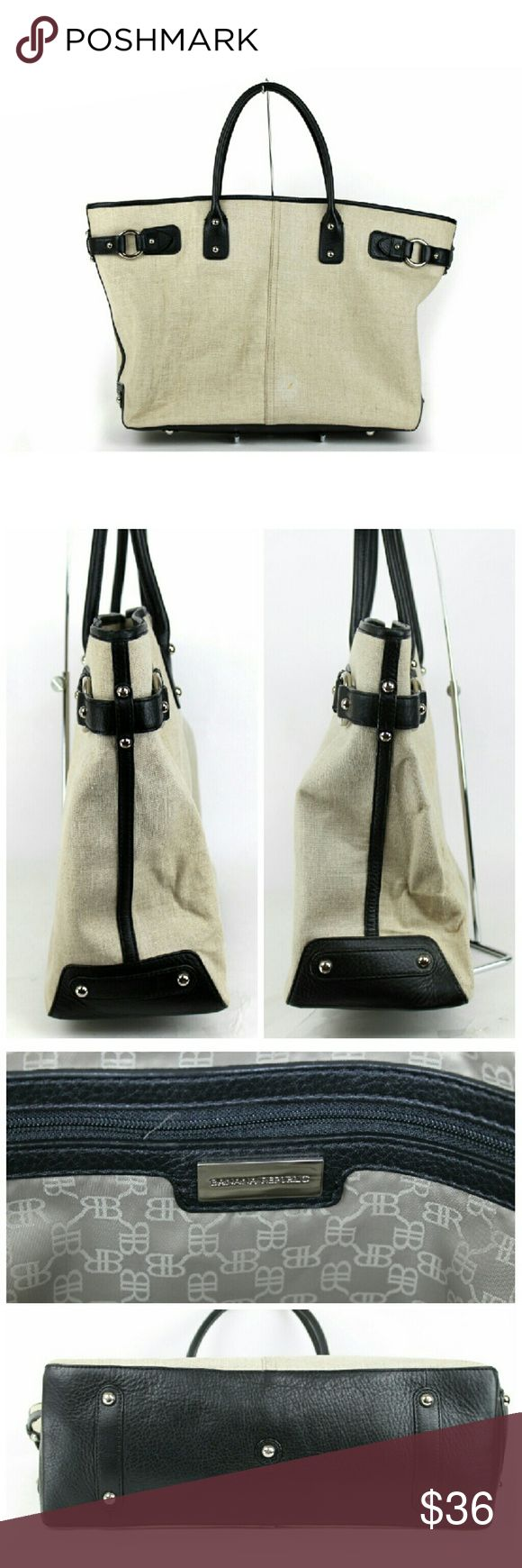 """Banana Republic tote bag Banana Republic tote bag .  100% linen with genuine leather trim. Beige/black. Silver tone hardware. Lined interior with large zippered pocket and 2 smaller open pockets. Few faint marks on exterior and 2 small stains on interior lining. Approximate measurements 22"""" x 13"""" x 6"""""""". Banana Republic Bags Totes"""