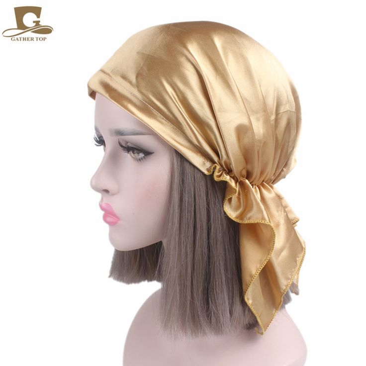 New Women Silk Satin Night Sleeping Cap For Long Hair Bonnet Hat Smooth Soft Chemo Cap Headwear For Cancer Patients Turban #Affiliate