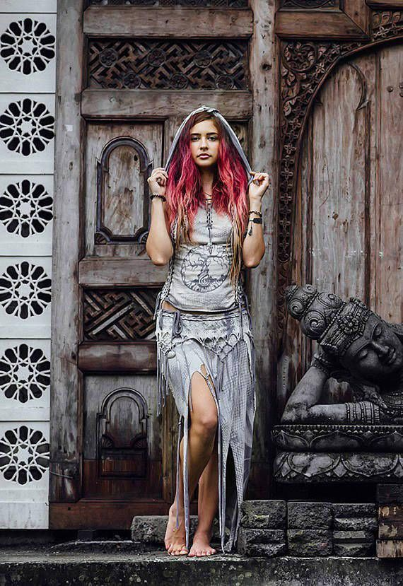 b5301e3ea3c5 Amazing fairy festival look ♥ Light gray forest pixie goa style set  Including braided hoody