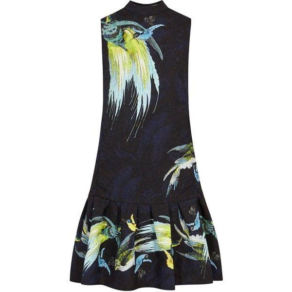 Erdem Nena Printed Matelassé Dress - Size 10 (1 855 AUD) ❤ liked on Polyvore featuring dresses, multi coloured dress, multicolor dresses, bird print dresses, multi colored dress and multi-color dresses