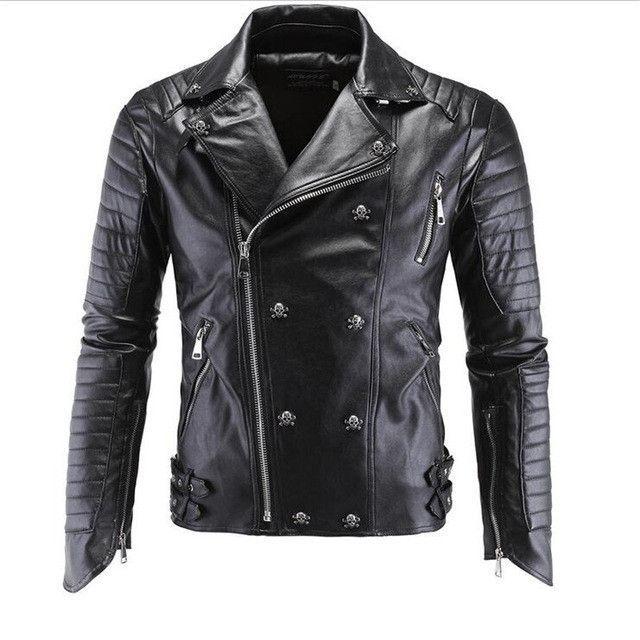 Leather Biker Jackets Men Coats Slim Motorcycle Bomber Jacket Mens Leather Jackets and Coats