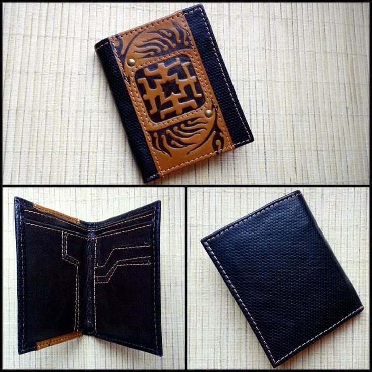 "This exclusive and high-quality leather wallet ""AMULET"" is a completely handmade author's work so the wallet is the only in the world.  The wallet is decorated with a stamping of a guarding talisman.  The combination of several types of leather makes an interesting design of the wallet.  Features: - 2 compartments for notes; - 3 compartments for credit cards; - 2 compartments for USB flash drives; - 2 hidden compartments for small things.  Dimensions: 120mm х 95mm  The leather wallet…"