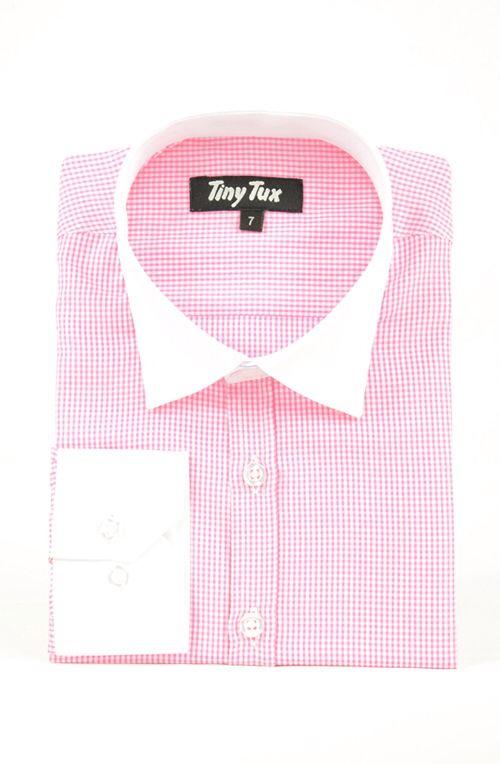 Carnaby check pink boys shirt
