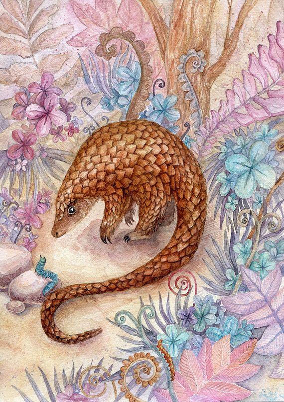 Watercolor original illustration of pangolin in fantasy garden
