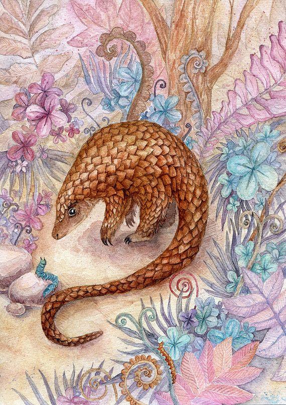 Watercolor original illustration of pangolin in fantasy garden