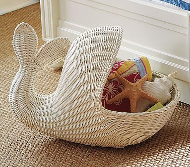 whale wicker basket | organization , Pottery Barn , storage , whale