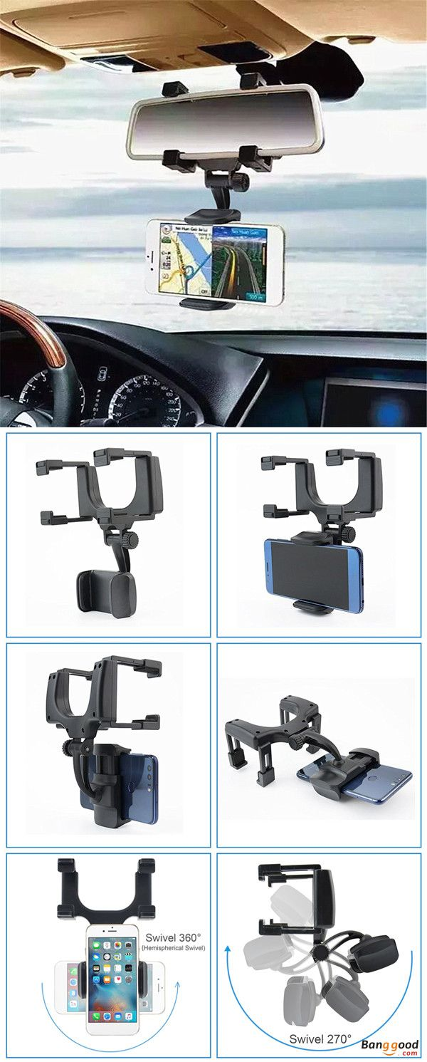 Bakeey alt 5 360 rotation rear view mirror mount phone holder for phone 3 5 5 5 inches