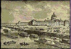 La Salpêtrière (pinterest.com/pin/287386019945303995), vue depuis la Seine. Extr. Trois souvenirs, La Salpêtrière. A. Daudet. 1896. #Hopital #Hospital