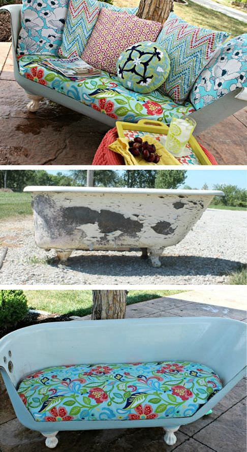 """We already showcased some nice ways to repurpose old bathtub in our article """"13 Ways Of Repurposing Old Bathtubs"""". Today we present you another example of how to recycle and convert an old metal bathtub into an elegant sofa. It's not an easy task and you should be a confirmed Crafter, but the result is worth the effort, beautiful!"""