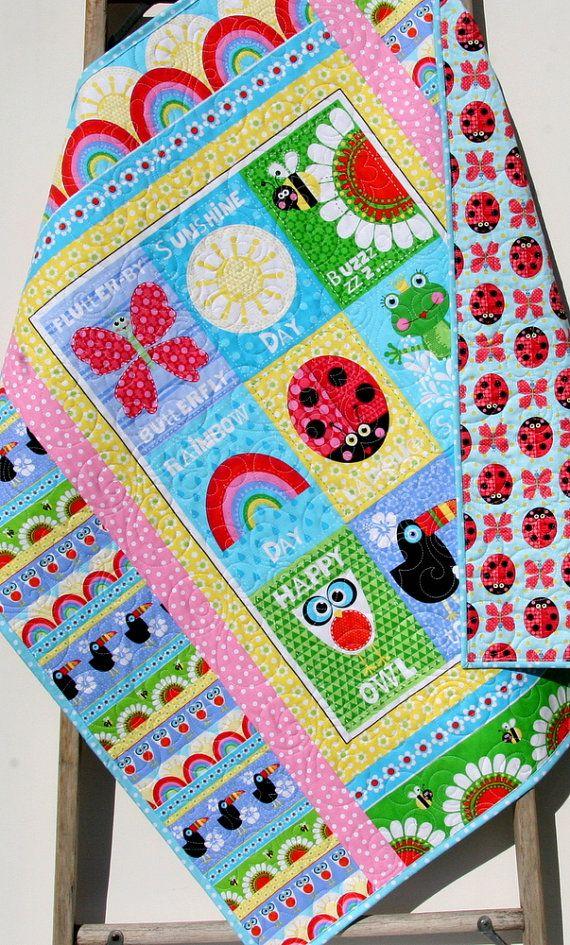 Sunshine Day Baby Quilt, Girl Bedding, Nursery Decor, Handmade Keepsake, Traditional Blanket, Bright Colorful Ladybug Butterfly Pink Blue by SunnysideDesigns2