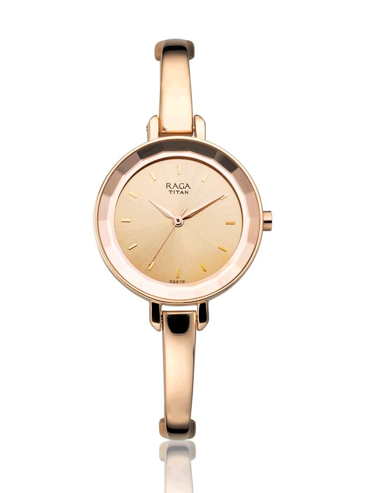 Stylish and sleek Rose gold Raga Viva analog timepiece embellished with a stunning rose gold dial and metal strap
