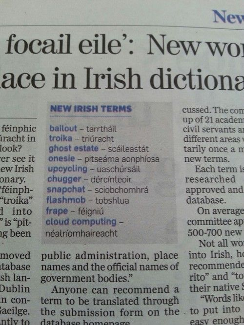 New Irish vocabulary