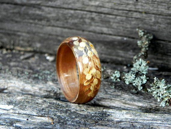 Forest Women Ring Women Wood Wedding Ring Plant Resin Ring