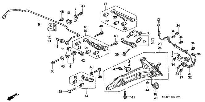 CHASSIS/REAR LOWER ARM for 1994 Honda CIVIC SEDAN #1