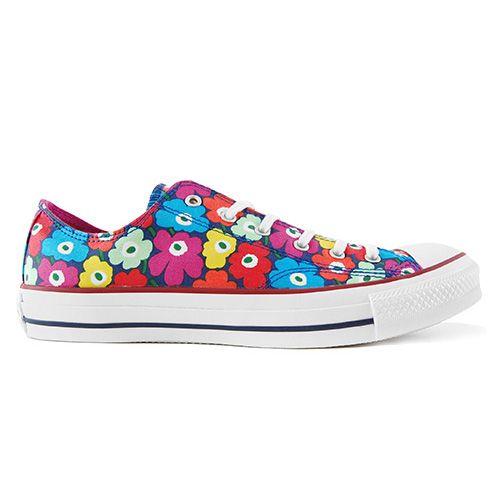 Rainbow Marimekko Unikko on a classic Converse sneaker? Yes please. Marimekko Unikko Blue/Raspberry/Multi Converse Shoes - $70