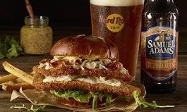 Authentic Samuel Adams OctoberFest Schnitzel Burger and Samuel Adams OctoberFest Beer Pairing from Hard Rock Cafe
