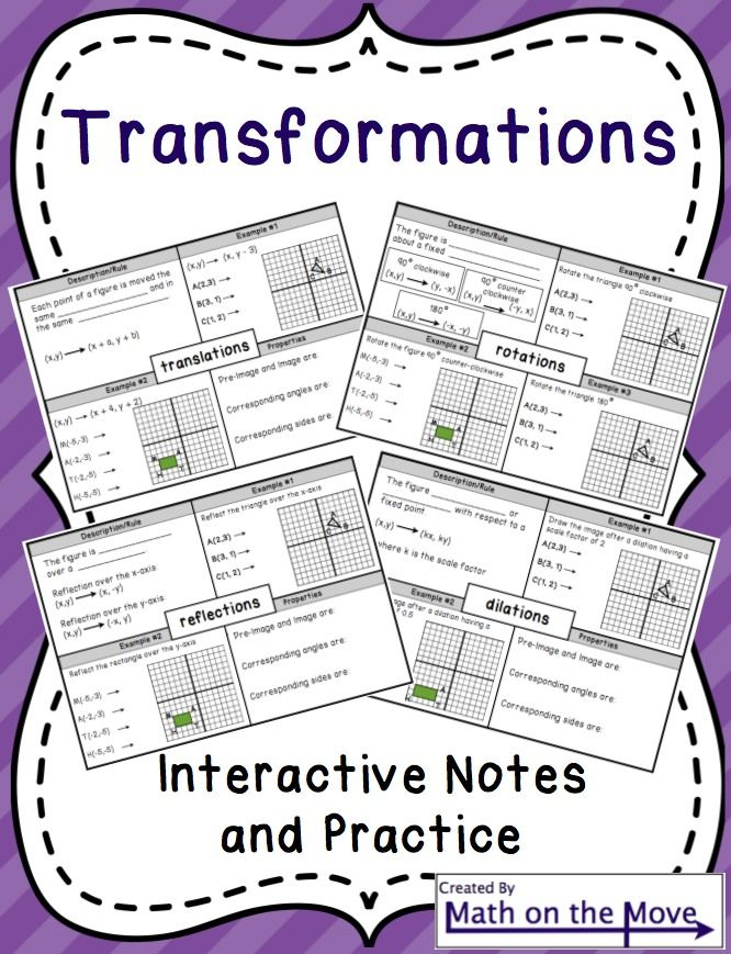 Interactive notes and practice problems for four types of transformations: translations, reflections, rotations and dilations.