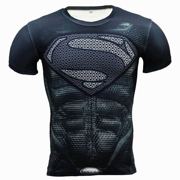 New Fitness Compression Shirt Men Anime Superhero Punisher Skull Captain Americ Superman 3D T Shirt Bodybuilding Crossfit tshirt